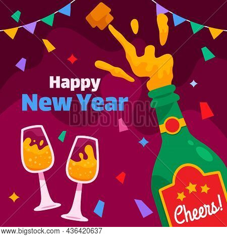 Popping Champagne On Midnight To Celebrating New Year Party.