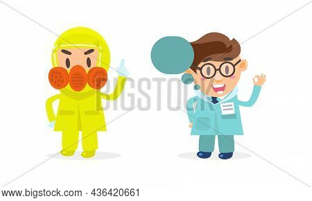 Doctor Comic Man In Uniform With Name Badge Showing Ok Hand Gesture And Wearing Protective Garment V