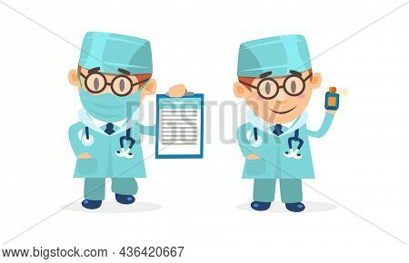 Doctor Comic Man In Uniform With Stethoscope Holding Clipboard And Vial Vector Set