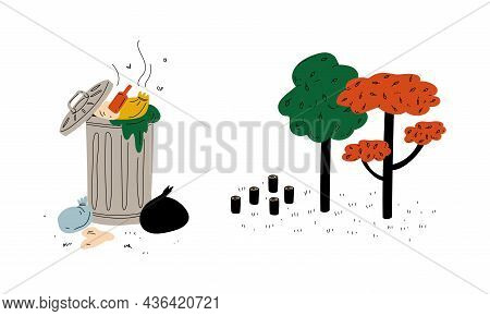 Trash Bin Full Of Stinky Garbage And Deforestation Or Forest Fell Vector Set