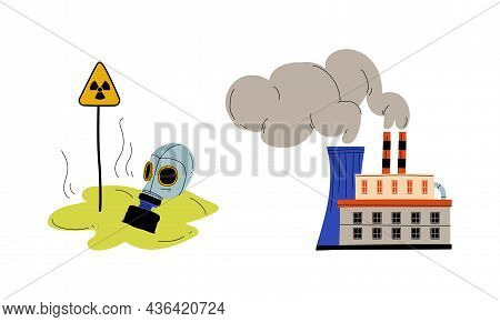 Industrial Plant With Toxic Waste Emission And Gas Mask Vector Set