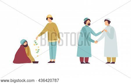 Muslim People Character In Traditional Clothing Greeting Shaking Hands And Donating Alms Vector Illu
