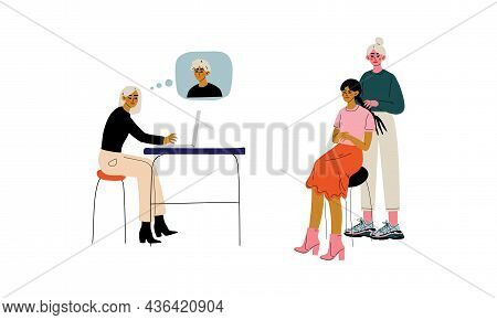 Male And Female Friend Spending Time Together Sending Message And Braiding Hair Vector Set
