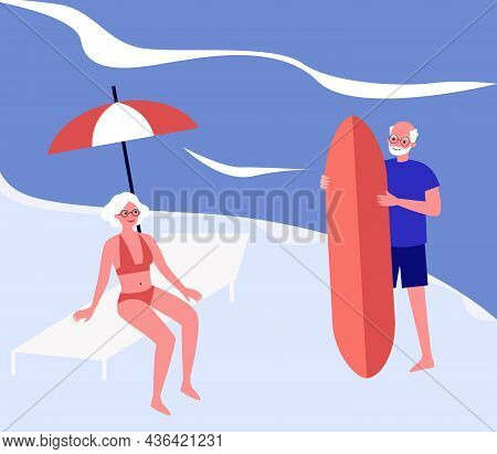 Elderly Surfers With Surfboard On Summer Vacation. Aged Active Man And Woman On Beach Flat Vector Il