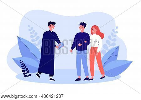 Couple People Meeting With Catholic Priest. Religious Christian Man Holding Bible Flat Vector Illust