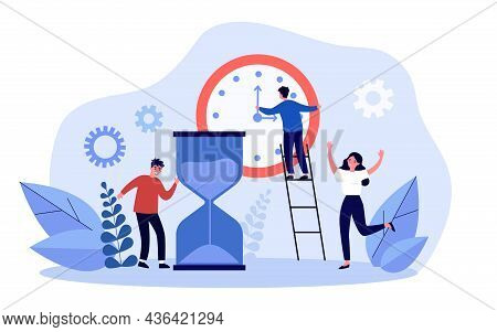 Businessman Moving Hands Of Clock, Meeting Deadline. Team Of Tiny Efficient Business People Working