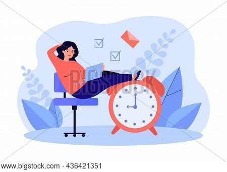 Businesswoman Sitting On Big Clock, Ready For Deadline. Tiny Woman Working With Laptop Flat Vector I