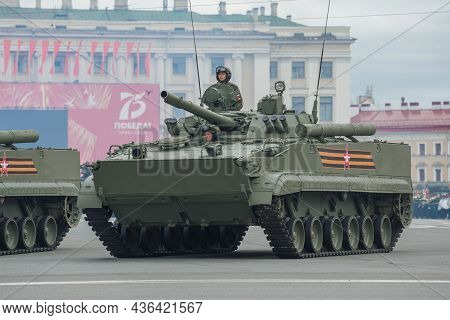 Saint Petersburg, Russia - June 20, 2020: Infantry Fighting Vehicle - Bmp-3 On The Rehearsal Of The