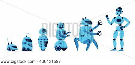 Robot Evolution Cartoon Vector Illustration Set. Different Models Of Robot Characters From Simple Bo