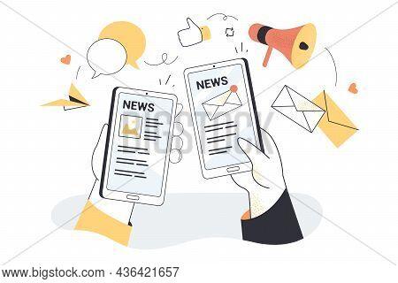 Hand Holding Smartphones With Online Newspaper, Newsletter, Weblog. Cellphone News Application, Webs