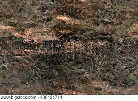 Abstract Vector Seamless Khaki Camo Pattern. Many Brown-green Shapeless Chaotic Spots. Natural Backg