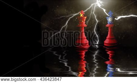 China And Taiwan Flags Paint Over On Chess King. 3d Illustration Taiwan Vs China.