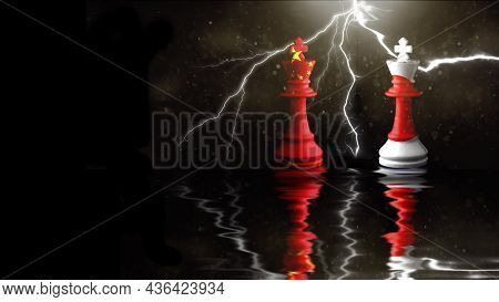 China And Japan Flags Paint Over On Chess King. 3d Illustration Great Japan Vs China.