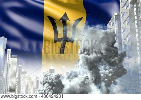Big Smoke Pillar In The Modern City - Concept Of Industrial Disaster Or Terroristic Act On Barbados