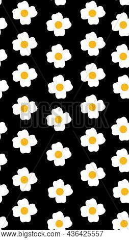 Seamless Floral Pattern With Chamomile Or Daisy Flowers. Vector Design For Paper, Cover, Fabric, Int
