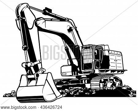 Black And White Excavator Machine - Outlined Illustration, Vector