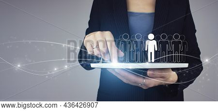 Community, Unity, People And Support Concept. White Tablet In Businesswoman Hand With Digital Hologr
