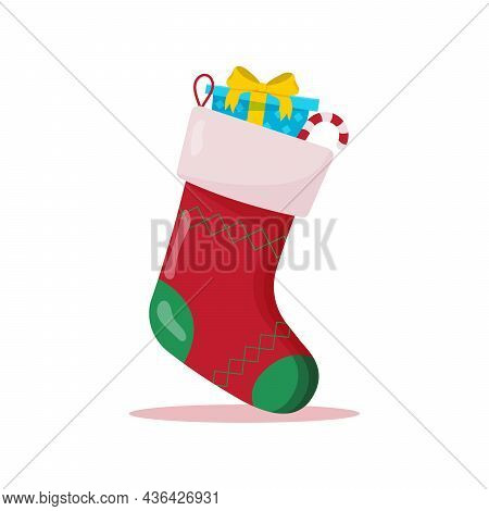 Christmas Sock With Gifts Inside. Winter Accessories.