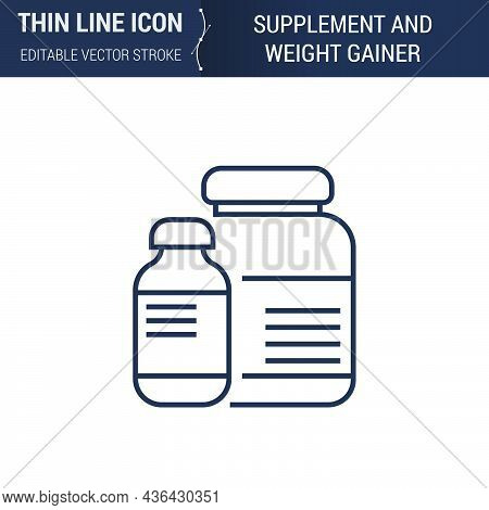 Symbol Of Supplement And Weight Gainer Thin Line Icon Of Sport And Fitness. Stroke Pictogram Graphic