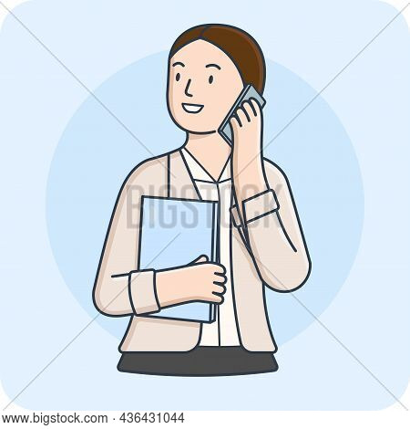 Female Business Woman Communication With Smartphone And Laptop, 2d Character Activity, Vector Design