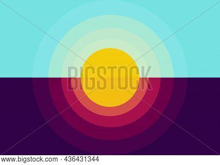 Sunrise And Sunset Illustration, Sunrise With Bright Blue Sky Color And Sunset With Beautiful Orange