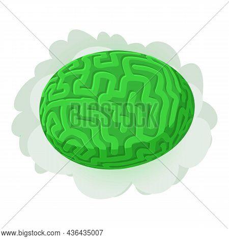 Brain Coral Icon Isometric Vector. Green Diploria Labyrinthiformis. Massive Hard Green Coral Colpoph