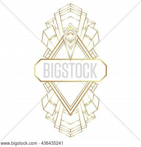 Art Deco Vintage Gold Frame In White Over White, Design Element. Retro Party Geometric Background Se
