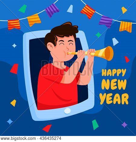 Happy Boy Celebrating Virtual New Year Party.