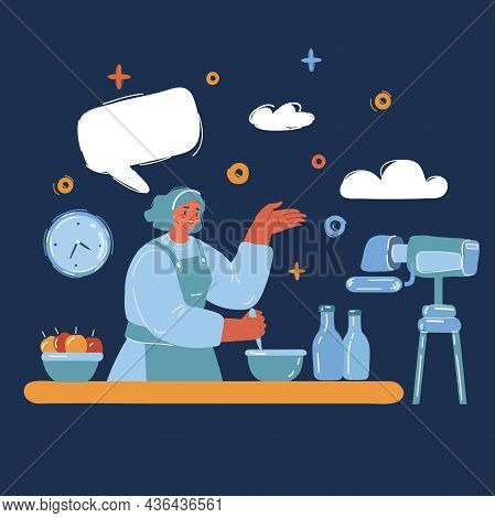 Vector Illustration Of Cooking Blogger Making A Review. Popular Videoblogger With An Influence On Th