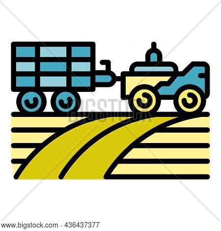 Farming Tractor Icon. Outline Farming Tractor Vector Icon Color Flat Isolated