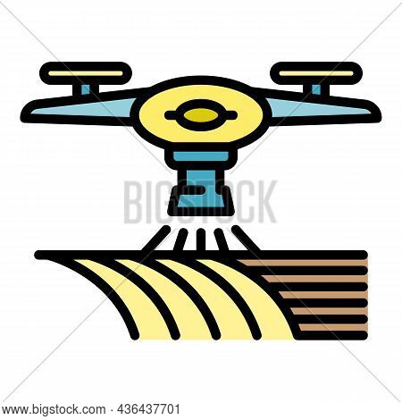Drone Water Irrigation Icon. Outline Drone Water Irrigation Vector Icon Color Flat Isolated