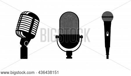 Three Microphones Retro And Classic. White Background. Silhouette Microphone. Music Icon, Mic. Flat