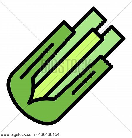 Cutted Celery Icon. Outline Cutted Celery Vector Icon Color Flat Isolated