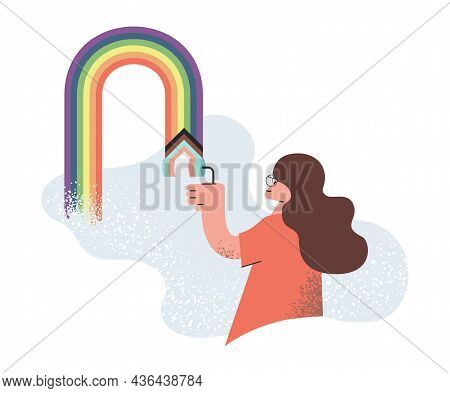 Young Woman Painting Wall With Rainbow Colors. Smiling Girl Drawing Lgbtq Plus Rainbow Flag On The W