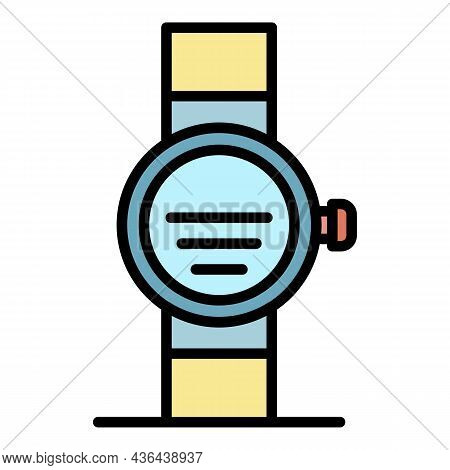 Gps Smartwatch Icon. Outline Gps Smartwatch Vector Icon Color Flat Isolated