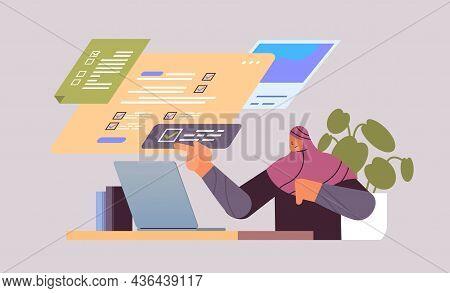 Arab Businesswoman Marking Complete Tasks On Virtual Checklist Business Organization Achievements Of
