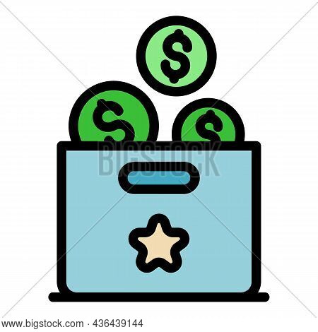 Box Money Startup Icon. Outline Box Money Startup Vector Icon Color Flat Isolated