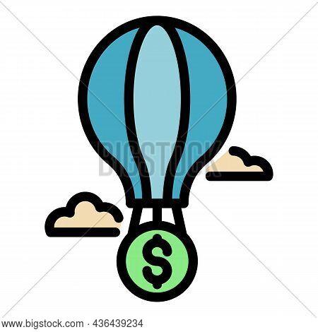 Air Ballon Startup Icon. Outline Air Ballon Startup Vector Icon Color Flat Isolated