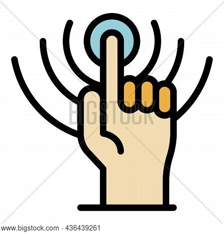 Finger Startup Icon. Outline Finger Startup Vector Icon Color Flat Isolated