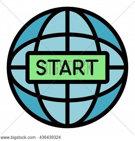 Global Start Project Icon. Outline Global Start Project Vector Icon Color Flat Isolated