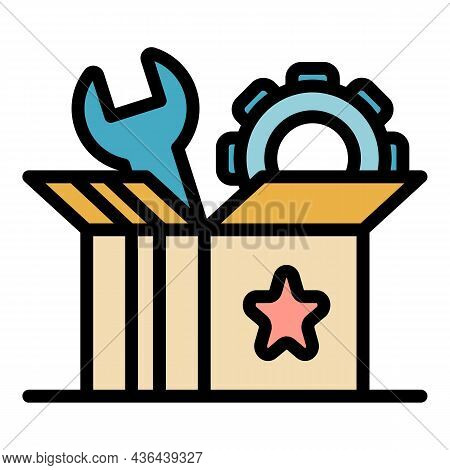 Startup Carton Box Icon. Outline Startup Carton Box Vector Icon Color Flat Isolated