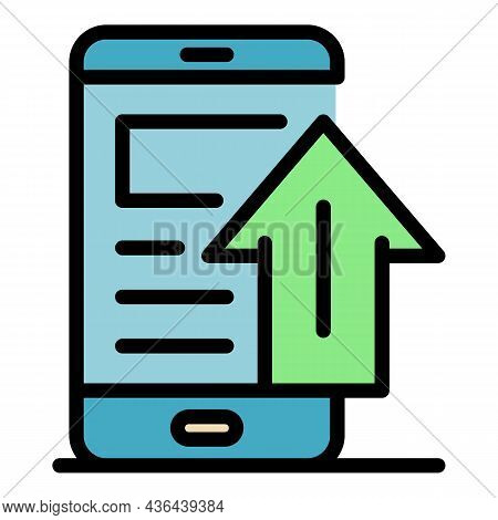 Smartphone Upload Icon. Outline Smartphone Upload Vector Icon Color Flat Isolated