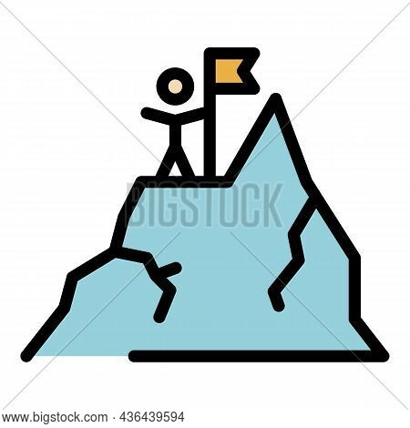 Project Mountain Target Icon. Outline Project Mountain Target Vector Icon Color Flat Isolated