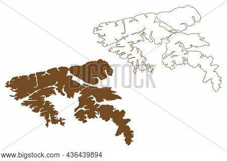 Hoste Island ( Republic Of Chile, South And Latin America, Tierra Del Fuego Archipelago) Map Vector