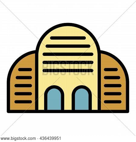 Old Architectural Building Icon. Outline Old Architectural Building Vector Icon Color Flat Isolated