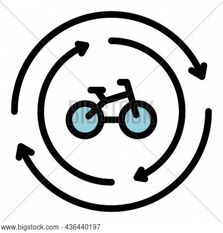 Rent Bike Icon. Outline Rent Bike Vector Icon Color Flat Isolated