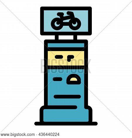 Kiosk Bike Rent Icon. Outline Kiosk Bike Rent Vector Icon Color Flat Isolated