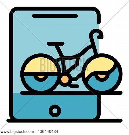 Tablet Online Bike Rent Icon. Outline Tablet Online Bike Rent Vector Icon Color Flat Isolated