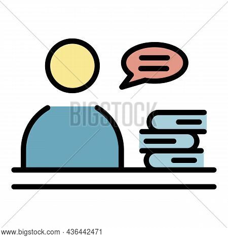 Man Near The Stack Of Books Icon. Outline Man Near The Stack Of Books Vector Icon Color Flat Isolate