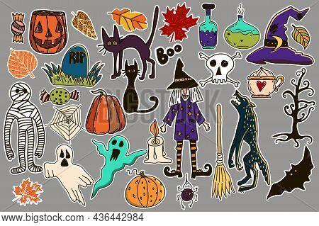 Collection Of Hand Drawn Halloween Stickers. Witch, Werewolf, Mummy, Black Cats, Pumpkin, Jack O Lan